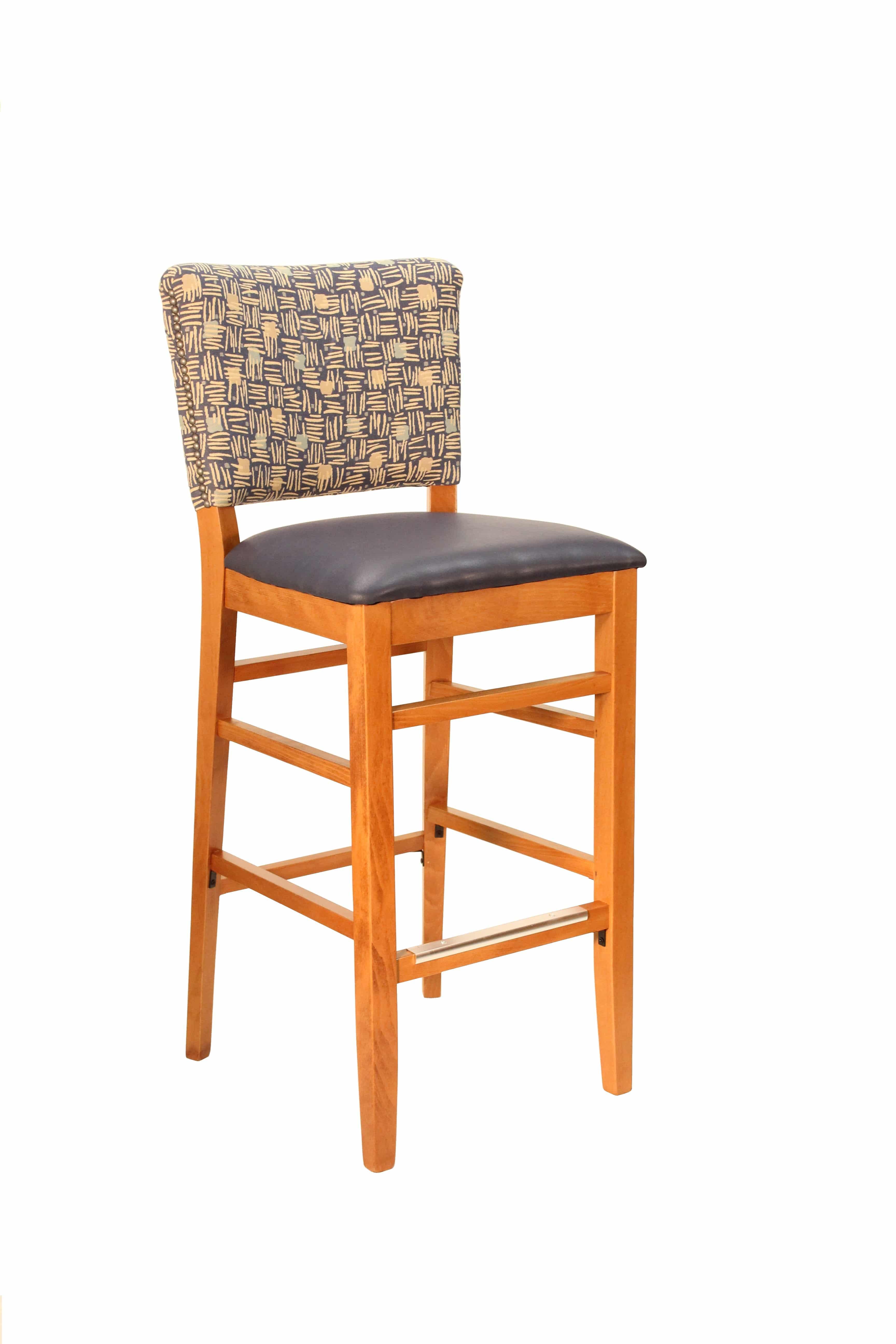 Admirable Heavy Duty Fully Padded Back Wood Bar Stool Model 1249 Ibusinesslaw Wood Chair Design Ideas Ibusinesslaworg