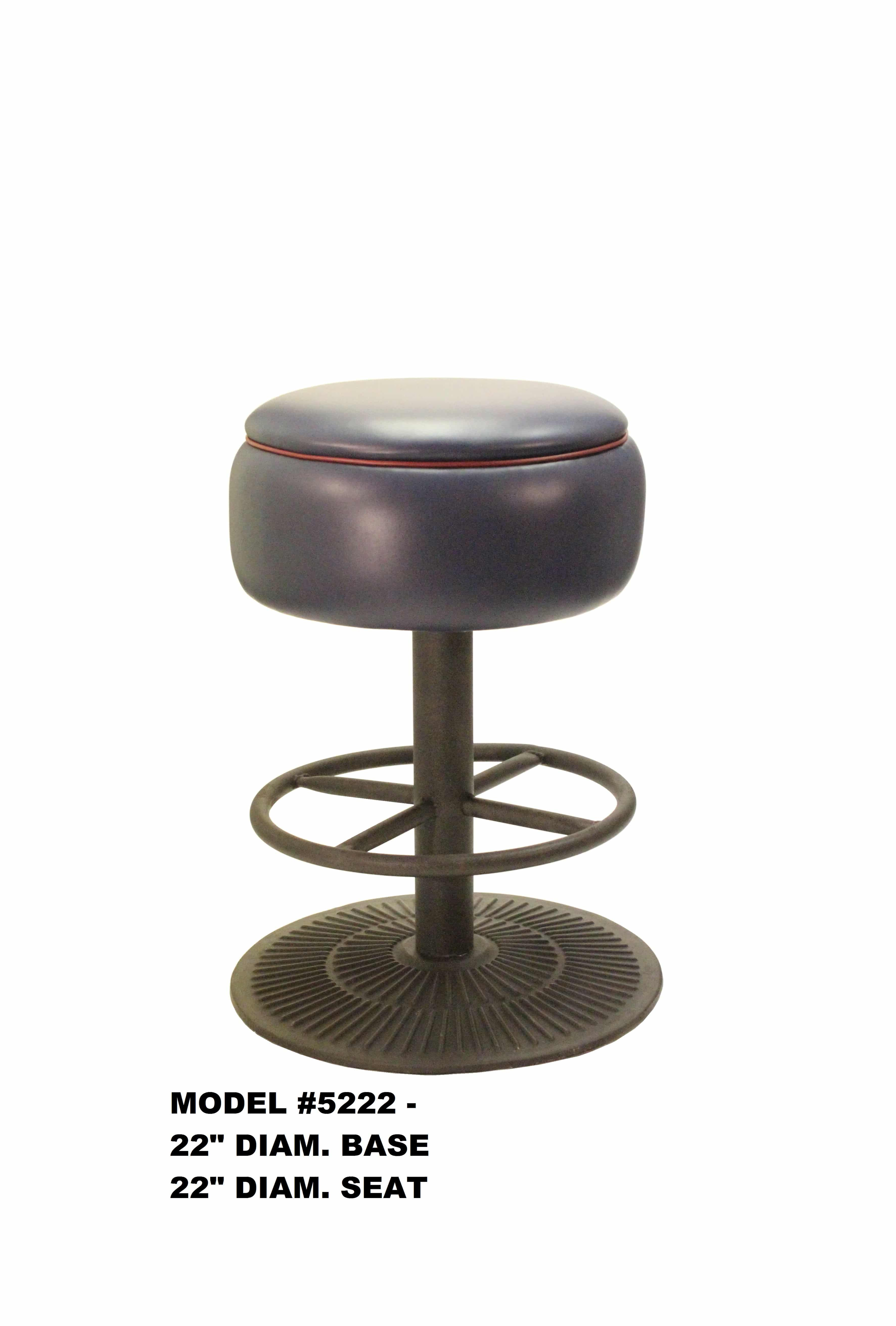 Picture of: Heavy Duty Round Seat Swivel Backless Metal Bar Stool Model 5222 Restaurant Chairs By M Deitz And Sons Inc